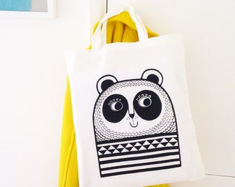Screen Printed Retro Panda Shopper Bag by Jane Foster Scandinavian style design
