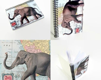 Elephant Postcard, Travel Writing Journal, Blank Sketchbook, Back To School, Spiral Notebook A6 Cute, Paper, Vintage, Pocket, Gifts Under 20
