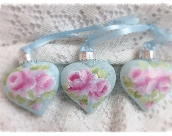 Puffy Pale Blue HEART Christmas Ornaments Shabby Chic Hand Painted PINK Roses ecs sct schteam SVHTeam