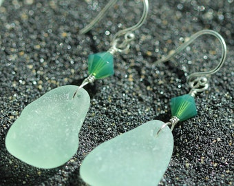 Aqua Sea glass earrings - sea glass jewelry - Alaska Beachglass jewelry - beach earrings - Green crystal earrings - sterling silver
