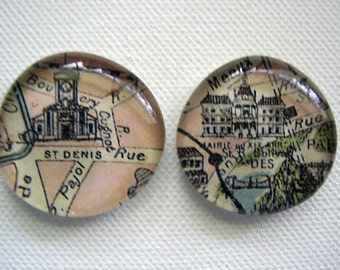 Set of two large glass vintage Paris magnets