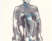 figure painting, sumi  ink and watercolor, Anonymous III