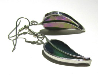 Summer Leaves - Stained Glass Earrings - Green Leaf Womens Accessories Wire Lightweight Jewelry Dangle Nickel-Free Hooks (READY TO SHIP)