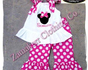Custom Boutique Clothing Girl Minnie Birthday Outfit Set Pink Polka Dot Pant Short Capri Set Size 3 6 9 12 18 24 month 2t 2 3 4 5 6 7 8 t