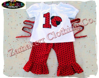Custom Boutique Clothing Girl Ladybug Birthday Outfit Pant Set Ruffle Toddler Infant Baby Size 3 6 9 12 18 24 month size 2T 2 3 4  5 6 7 8 t