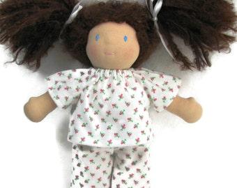10 inch chubby Waldorf doll pajamas, Waldorf doll's pink rosebud pjs, flannel doll sleepwear, handmade doll pajamas