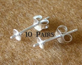 925 Sterling Silver PAD Earring Post (4mm) with PEG and Earring Backs - 10 Pairs (20 Pieces)