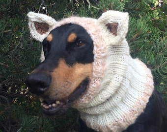 Hand Knitted Dog Snood with ears - warm and cute - will fit medium to xl dog - Dog Snood