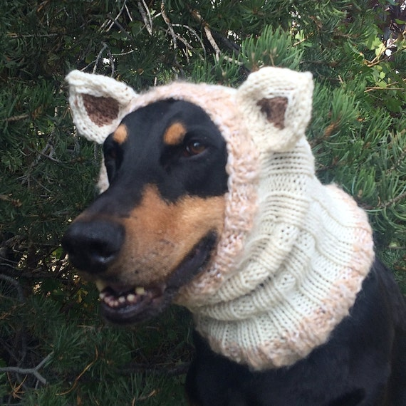 Hand Knitted Dog Snood with ears warm and cute will fit