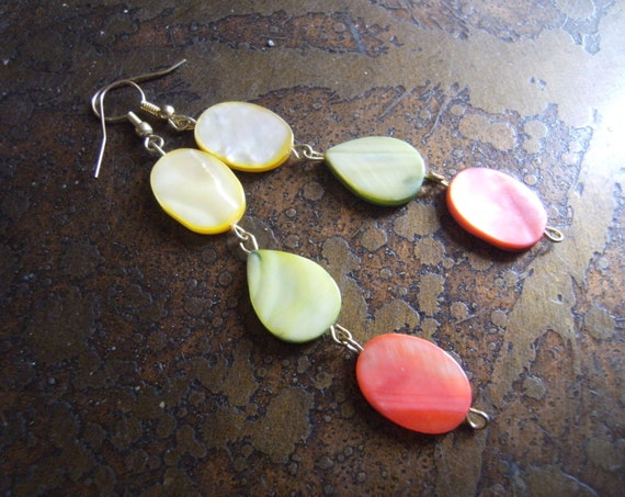 Enchanted Forest Mother of Pearl Beaded Dangle earrings