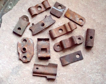 Rusty Metal Pieces With Holes Joiners Clips Clamps - Supplies for Assemblage, Altered Art , Sculpture - Industrial Salvage