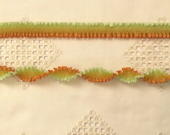 "Pleated French Ribbon Acetate Whisper Lime Persimmon Ombré 1 meter 7/8"" wide #168"