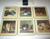 Pimpernel Cat Coasters - Set of 6 in original box - Made in England
