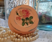 1 vintage peach ball fruit jar zinc cap shabby chic cottage roses regular mouth mason screw lid extra chippy distressed home decor upcycled