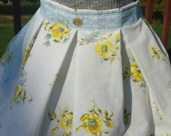 Aqua & Yellow Roses Vintage Sheet Apron