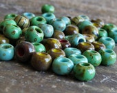 Jade Turquoise Picasso Striped 1/0 Czech Glass Seed Bead Mix : 10 inch Strand Picasso Seed Bead Mix
