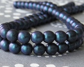 Indigo Orchid Polychrome Czech Glass Bead 6mm Round Druk : 50 pc Full Strand Indigo Round