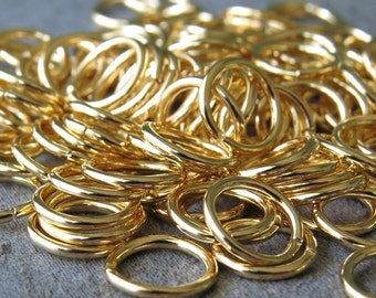 8mm 18 Gauge Gold Plated Open Jump Rings : 50 pc Gold Jumpring