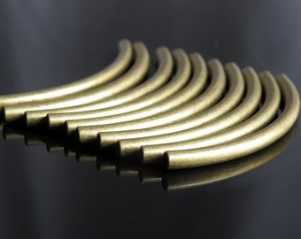 40mm Tube Bead Antique Brass Noodle Bead Curved Tube : LAST 12 pc Antique Brass Curved Tube Findings