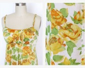 60s Floral Nightgown / 60s Vanity Fair Nightgown / Silky Nylon Yellow Rose Print/ Nightie /  Sz  M