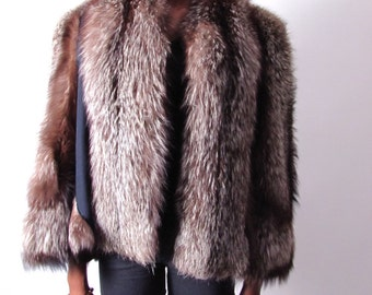 vintage 1940s crystal silver gray fox feathered shaggy jacket coat cape