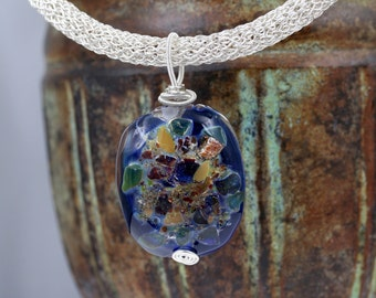 Wire Wrapped Necklace, Lampwork Necklace, Glass Necklace, Artisan Necklace, Luxury Necklace, Blue Necklace, Silver Necklace, Womens Necklace