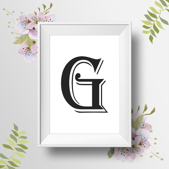Letter g wall art printable art black white monogram for Letter g wall decor