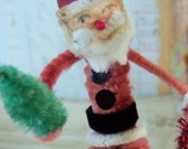 Vintage Style / Pipe Cleaner Santa Claus Figure / Vintage Craft Supplies / Spun Cotton Head / Candy Cane / Bump Chenille Tree