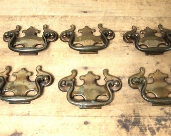 "Free Shipping  Lot of 6 Vintage Drawer Pulls Extra large 4"" across Brass"