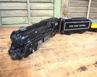 Vintage  Metal Toy Train Marx New York Central Tin 3 car s Engine Coal  Freight