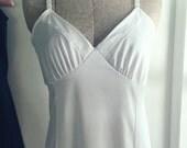 Vintage Off-White Full Slip-Slinky Nightgown-Romantic Lingerie