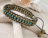 Beaded Wrap Bracelet - Bohemian Bracelet - Wrap Bracelet - Leather and Chain Braclelet - Boho Wrap Bracelet - Turquoise Bracelet