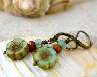 Gift Idea - Dangle Earrings - Mint Green Earrings - Beaded Earrings - Hypoallergenic Earrings - Gift For Her - Coral Pink and Mint Series