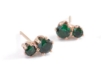 Double Emerald Green Binary Posts - Recycled Metal + Ethical Stones