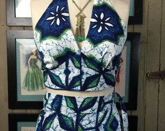 Fall sale 1960s hawaiian set maxi skirt 2 piece barkcloth skirt and top 60s halter top Diamond Head set Vintage maxi dress