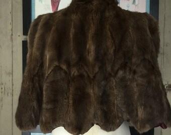 Fall sale 1940s fur cape 40s fur wrap Richmond furs Vintage capelet small medium Old Hollywood