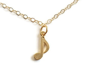 Music Note Gold Charm Necklace