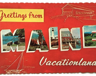 Vintage Greetings from Maine Vacationland Big Letters Postcard