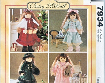 "McCalls 7934 Doll Clothes 18"" Winter Coat Nightgown Skirt Hat Dress Betsy McCall Sewing Pattern Out of Print UNCUT"