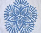 """New Handmade Crocheted """"Fancy Fans"""" Doily in Blue Hawaii - 18"""""""