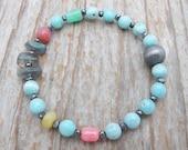 larimar bracelet, labradorite bracelet, stacking bracelet, gemstone bracelet, mixed gemstone bracelet, chrysoprase bracelet, gift for her