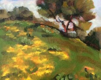 Oil painting of flowers in landscape - original artwork