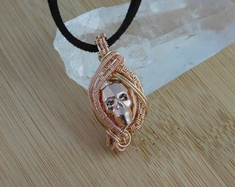 Rose Gold 2X Swarovski Skull Pendant Wrapped in 14K Gold & Rose Gold Filled Wire Handmade Jewelry Sophisticated Gothic Crystal Skull Pendant