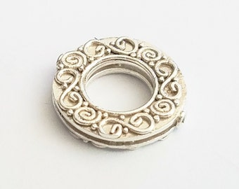 Round Bali Frame Bead with Bright Silver Finish 17mm