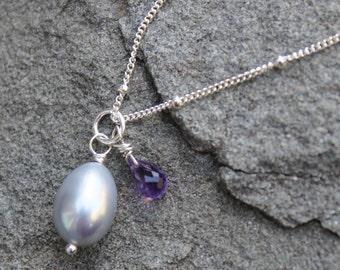 Amethyst Gray Pearl Pendant, Sterling Silver Pearl Necklace, Gray Pearl Necklace