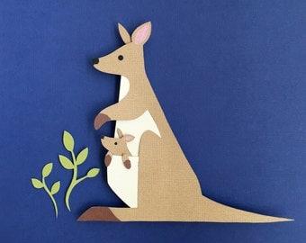 Australia, Zoo, Nursery Decor, Kangaroo Paper Cutout