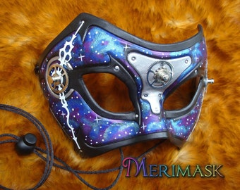 READY TO SHIP Galaxy Time Bandit ... steampunk leather mask masquerade costume gothic Halloween Mardi gras burning man