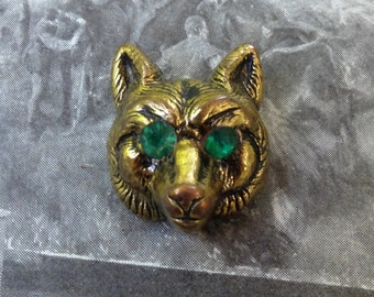 Vintage Wolf Head Button Metal coated Plastic