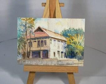 Sale Aceo, old house singapore building, peinture, miniature painting, landscape id20160801 original watercolor, not a print, wallart