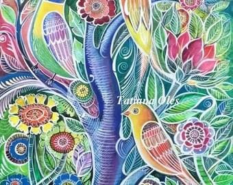 """Original watercolor """"3 Beautiful birds"""" 12""""x 18"""" by Tatiana Oles"""